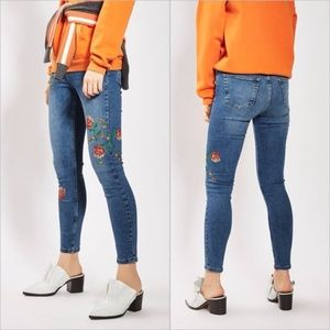 New! Topshop Embroidered Moto Skinny Jeans
